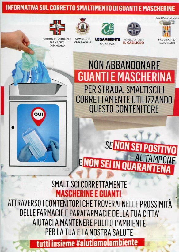SMALTIMENTO GUANTI E MASCHERINE